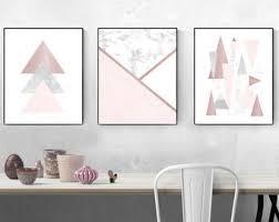 blush pink and rose gold wall art