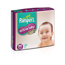 Pampers Active Baby Medium Size Diapers 90 Count