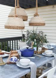 here s how to make a hanging lamp out of a basket