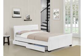 vancouver 5ft king size white leather 5ft sleigh storage bed
