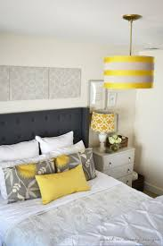 gray and yellow furniture. danielle oakey interiors diy tufted headboard with wings and nailhead trim love the yellowgraywhite color scheme gray yellow furniture