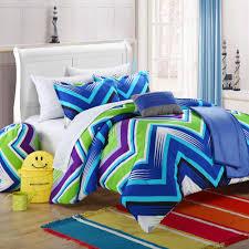 modern blue lime green and purple chevron bedding set