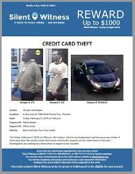 No hidden fees & competitive rates for fair/poor/limited credit. Credit Card Theft In The Area Of 3300 West Peoria Ave Phoenix Silent Witness