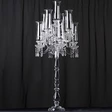 ya ya 46 tall handcrafted 9 arm crystal glass table top candelabra hurricane taper candle holder centerpieces premium collection