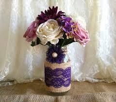 Mason Jar Decorations For Bridal Shower Purple Burlap And Lace Covered Mason Jar Vase Wedding Decoration 37