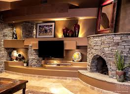 the warm custom corner fireplace designs beautiful wall stacked stone design for an upscale home entertainment