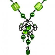 chic costume jewellery venetian glass bead green rhinestone chandelier pearl fashion drop necklace