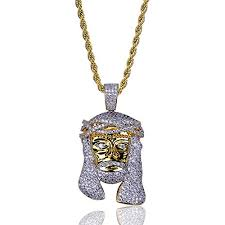 topgrillz men hip hop gold plated iced out piece pendant necklace with rope chain gold
