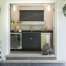 pool house kitchen. Pool House Kitchen With Black Cabinets