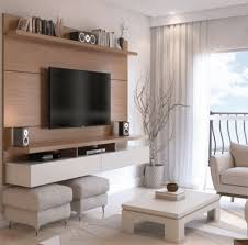 chic wooden wall mounted tv ideas design
