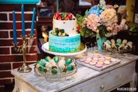 Wedding Cake Candy Bar Marshmallow On The Table In A Vase Macaroon