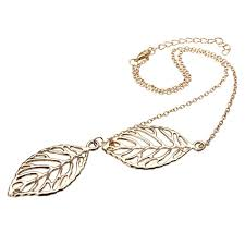 vintage dual big leaves pendant clavicle chain necklace