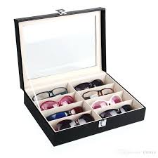whole black leatherette glasses display case box tray stand holder 8 compartments with clear acrylic lid eyeglasses display case