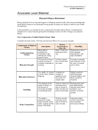 Collection of Solutions 5 ponents Health Related Fitness Worksheets About Cover Letter