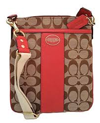 Coach Legacy Signature Swingpack Crossbody Bag 48452 Khaki Red
