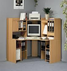 modern office desks ideas with natural wooden computer desk cabinet in corner