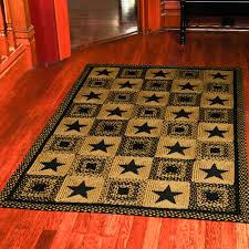 astounding country braided rugs of star rectangle rug primitive black and tan or wine