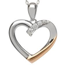 irish necklace real irish gold sterling silver crystal heart pendant by house of lor