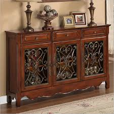 powell walnut 3 door scroll console 246 335