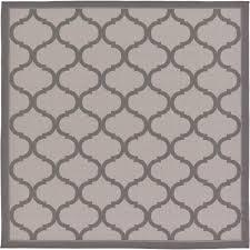 unique loom outdoor gray 6 x 6 square indoor outdoor rug