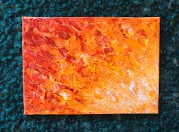 SALE - Original Abstract Painting Orange Fire Horizon FREE 5