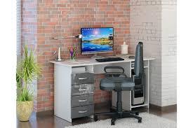 Купить <b>Письменный стол Милан</b>-<b>6</b> белый/серый глянец с ...