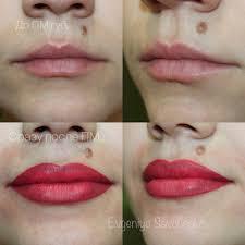 акварельный татуаж губ фото до и после
