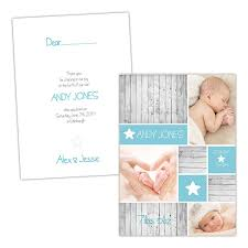 Baby Announcement Cards Shabby Chic Wood Stars Boy Baby Announcement Cards Pack Of 10