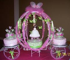 Carriage Pink And Lime Green Butterfly Theme Quinceanera Cake