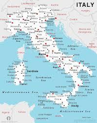 Italië City Kaart Kaart Van Italië Met Stad Namen Zuid Europa