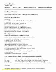 Bartender Resume Templates Best of Bartender Resume Template Reference Of Bartender Resumes Examples