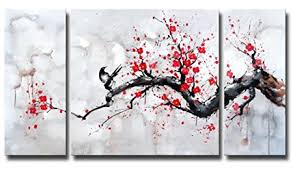 black white red modern abstract cherry blossom wall art picture 3pcs oil paintings on canvas handmade on amazon uk black and white wall art with black white red modern abstract cherry blossom wall art picture 3pcs
