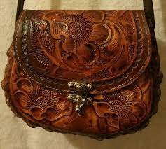 details about authentic handmade hand tooled 100 leather sizem purse with traditional flowers