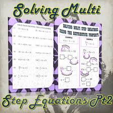 solving multi step equations using the distributive property this doent includes a page of guided