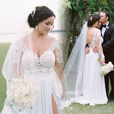 plus size bridal discount modest plus size bohemian wedding dresses 2017 long sleeve