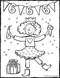 Verjaardag Meisje 6 Jaar Kleurprent Kleurplaat Tekening 01v Jarig