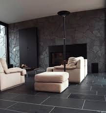 black stone wall living room design ideas