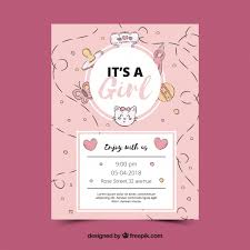 shower invitation templates pink baby shower invitation template vector free download