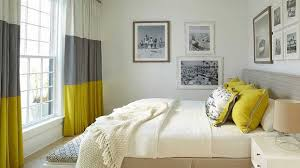 modern bedroom with bathroom. Modern Bedroom Curtain Ideas Collection And Stunning Grey Yellow Curtains Bathroom Design With