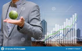 Farm Growth Chart Businessman Show Growth Chart Of Wind Farm Stock Image