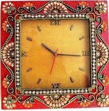 og wood square shape wall clock