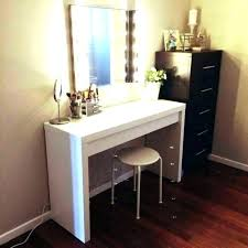 wood makeup vanity white wooden table with lighted mirror and drawers also black plans dark cherry