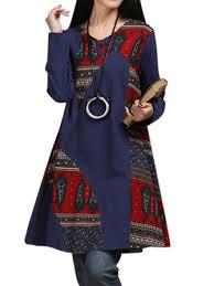 vintage <b>women</b> ethnic style <b>printed patchwork</b> long sleeve <b>a-line</b> ...