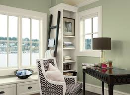 A Home Office In A Soft Green Paint Color  Benjamin Moore