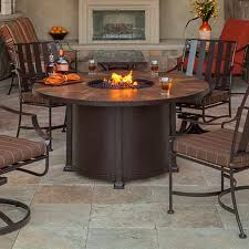 unique outdoor fire pit dining table santorini 54 round dining height fire pit table woodlanddirect