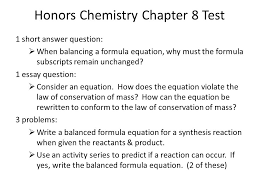 honors chemistry chapter 8 test