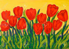 hand painted picture oil painting red tulips on yellow background stock photo