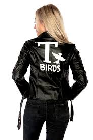 grease sandy t birds black womens jacket lady 50 s costume frenchie rizzo