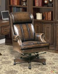 executive office desk chair genuine brown leather traditional w nailhead trim brown leather office chairs