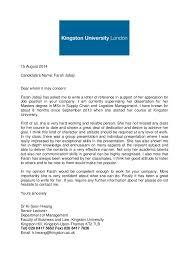 academic reference letter academic reference letter kingston university